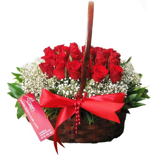 Sepet İçerisinde Kırmızı Güller